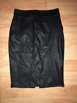 Black Leather Look Pencil Skirt (Fetish/Wiggle/Pinup) - Size 10