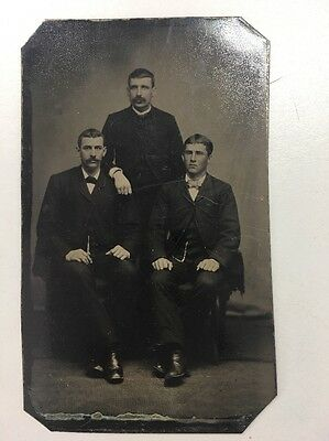 Antique Victorian Tintype Photo three young men (2 sitting one standing)