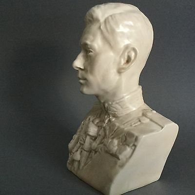 Rare Art Deco Ceramic Coronation Bust of King George VI by Felix Weiss 1937