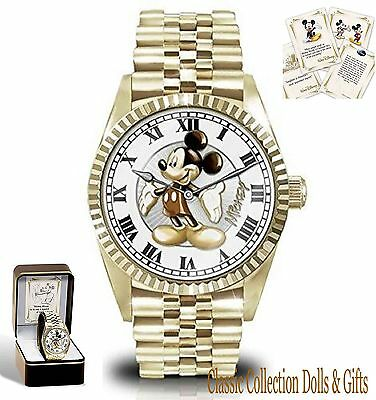"""""""treasured Moments With Mickey Mouse""""-Commemorative Mens Watch-New-In Stock"""