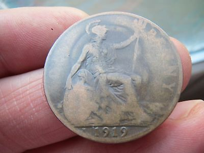 1919h One Penny King George V th -Heaton Mint