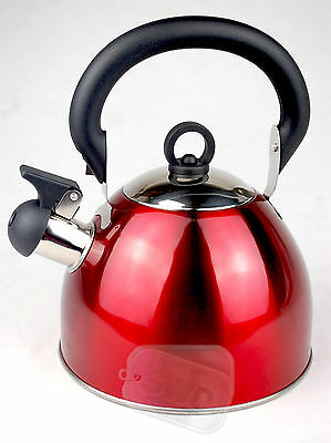 Whistling red retro kettle whiseling gas electric 2.5ltr hob folding handle