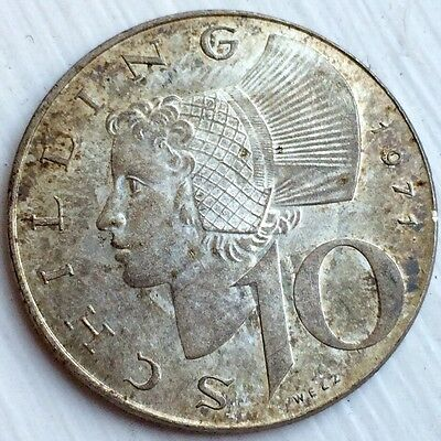 1971 Silver AUSTRIA 10 SHILLING Coin. Authentic Silver Toning