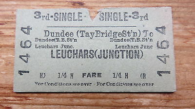 Railwy ticket, Dundee(Tay Bridge) to Leuchars (Junction). Issued 1953.