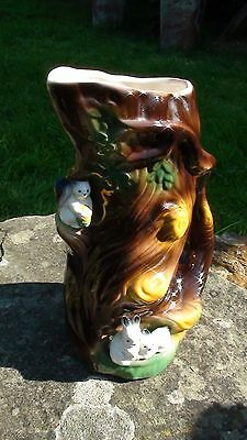 Kitsch 1960's Withernsea Eastgate Tree Stump Vase/jug With Squirrel & Rabbits