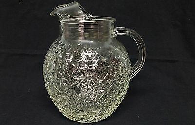 1960s Anchor Hocking LIDO Clear Ball Glass Pitcher Pour Spout Ice Lip Retro