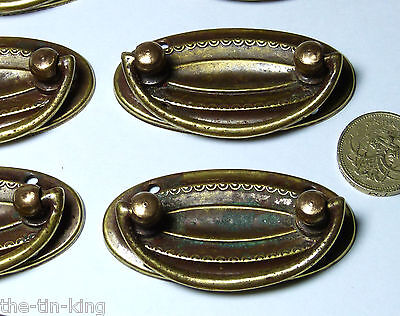 Quality Antique Set 8X Brass Regency Chest/drawer/door Pull Handles