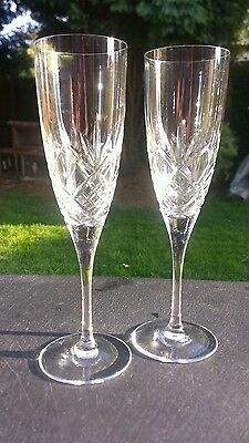 Royal Doulton champagne flutes,, signed, 21 cm tall