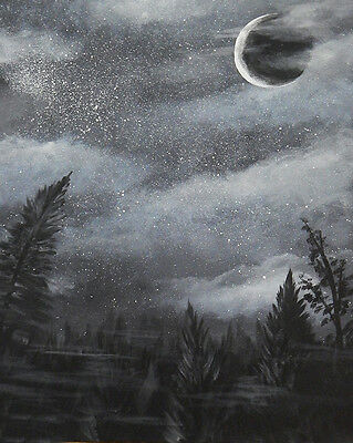 Forest Starry Night Trees Large Framed Art Print Poster 18x24 Inches