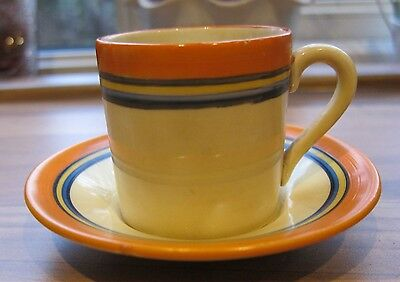 Bizarre by Clarice Cliff, early banded coffee can and saucer. Art deco. 1928