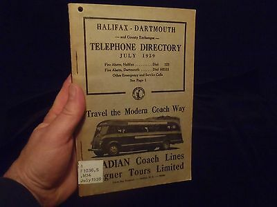 vintage telephone directory Halifax Dartmouth July 1939