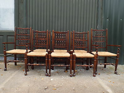 Quality Set of Eight (6+2) Solid Oak Lancashire Rush Seat Dining Chairs