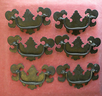 6 Vintage Antique Metal Chippendale Style Dresser Drawer Pulls Handles 4 1/2""