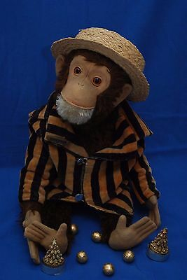 """Fabulous Antique Vintage Schuco Brown Mohair 18"""" Yes/No Monkey Good Condition"""