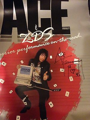 Large Ace Frehley Signed ZDS Poster KISS