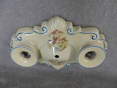 Vtg Ceramic Porcelain Flush Mount Ceiling Light Fixture Floral Birds Old 2231-16