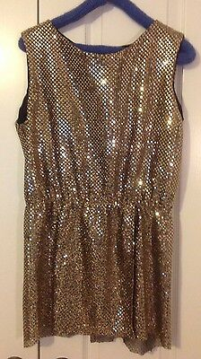 Sequined Sleeveless Gold Top Women's Large Tunic California Costume Company