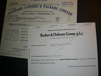 Standard Canners & Packers Ltd + Barker & Dobson Group plc
