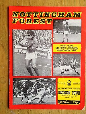 Nottingham Forest v Swindon Town 1977/78 FA Cup programme