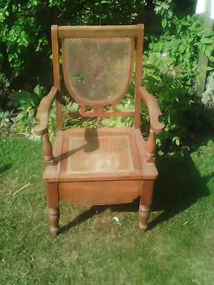 Antique Wooden Rattan Commode