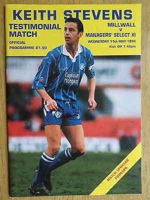 Millwall v Managers' Select XI 1993/94 Keith Stevens Testimonial programme