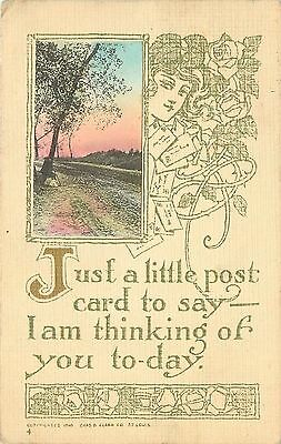 c1910 Arts & Crafts Style Greetings Postcard Chas. Clark Co. Hand-Colored Posted
