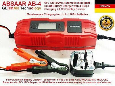 ABSAAR AB-4 6V/12V 4A Automatic Intelligent Motorcycle Battery Charger Optimiser
