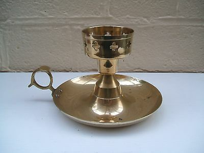 Vintage Brass Chamber Stick Candlestick Holder With Drip Tray