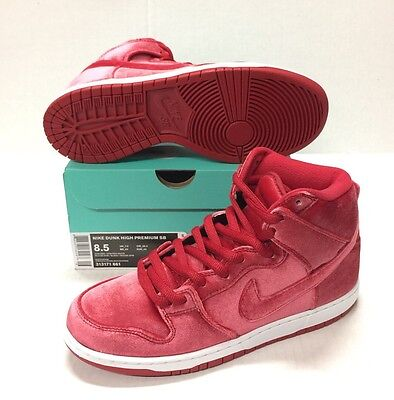 NIKE SB DUNK High Red Velvet Gym Red Athletic Shoes 313171-661 New ... 3f1628516