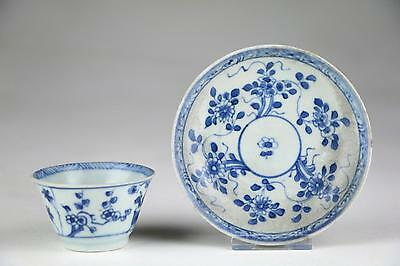 Fine Antique 18thC Chinese Qing Yongzheng Blue & White Porcelain Cup & Saucer