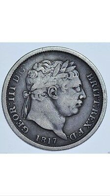 1817 Shilling, British Silver Coin George III in 'about Fine' Condition  aF