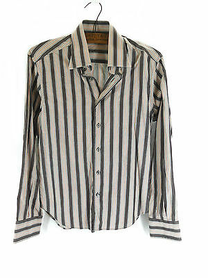 Vintage 1970s Style Brown Striped Stripey Shirt - Size 39/ 15.5/ Small Medium
