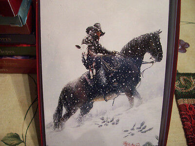 Leanin Tree  Christmas Card Set Beautiful Cowboy Holding Calf  10 Pk New !