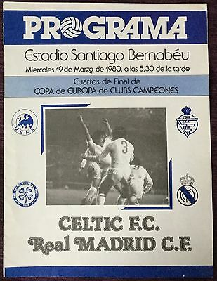 European Cup Quarter Final Football Programme 1979/80 Real Madrid V Celtic Vgc