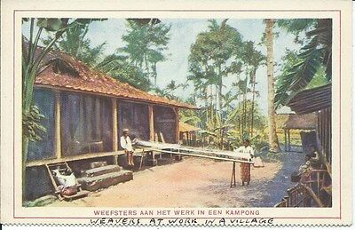 KAMPONG Weavers at Work In A Village Early Postcard Holland Dutch