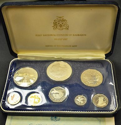 First National Coinage of Barbados 1973 Proof Set from Franklin Mint COA/Sleeve