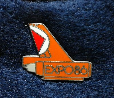 RARE ~ Silver Expo 86 1986 CP Air Canadian Pacific Airlines Tail Worlds Fair Pin