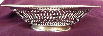 "Sterling Silver 10 "" Pierced Bowl - Antique Woodside Sterling Dish"