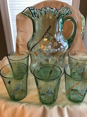 Vintage Green Depression Glass Hand  Painted Floral Fluted Pitcher W/ 6 Glasses