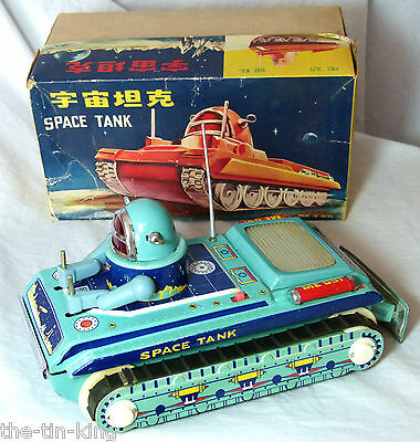 Splendid Boxed Vintage Clockwork Space Tank Tin Toy 1960S Me091 China Chinese