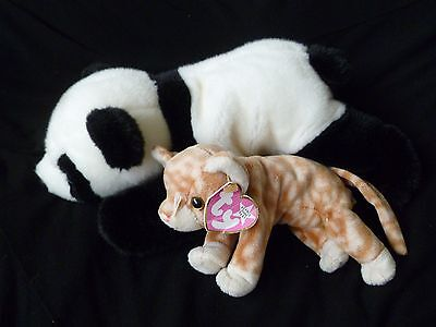 2 x TY Beanie Baby cat and panda