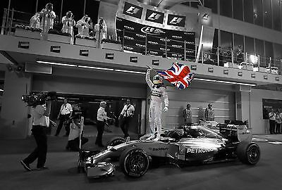Lewis Hamilton 30x20 Inch Canvas - F1 WORLD CHAMPION Framed Picture Poster