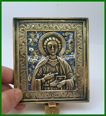 Russia orthodox bronze icon Saint healer Pantheleimon. First half of 20th. cent