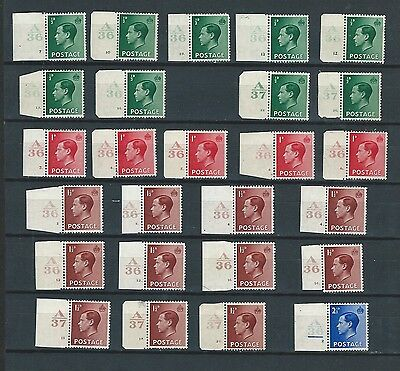 1936 KEdVIII EXCELLENT GROUP OF 26 DIFFERENT MNH/LMM CONTROLS  (3)