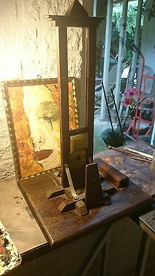 Antique wooden miniature guillotine mahogony iron cast brass curiosity French