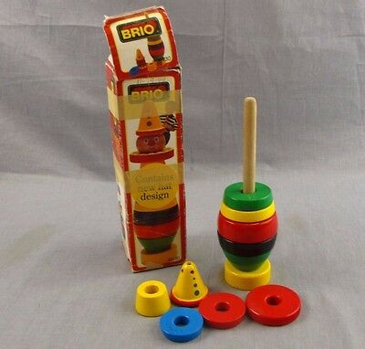 Vintage Brio Stacking Clown Blocks Toy Missing Head Lot of 10 Wooden Sweden