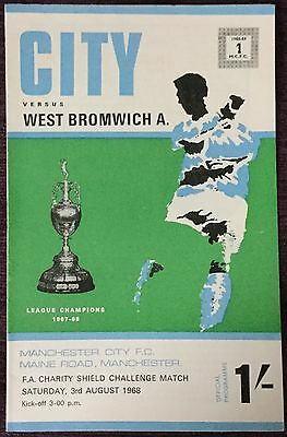 1968 Fa Charity Shield Programme - Manchester City V West Brom Maine Rd Original