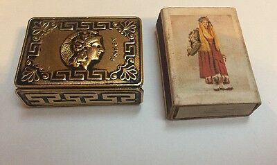 Vintage Greek Match Safe Holder Goddess ATHENA-ACROPOLIS of Athens W/ Box
