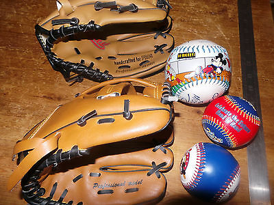 Three Disney Baseball Balls and Two Gloves / Mitts (FBI and Wild West)