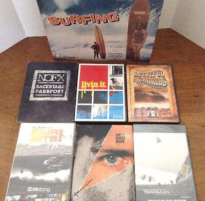 Surfing Book And 4 Surfing Videos Plus 1 Snowboarding Video 1 Music Backstage